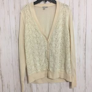 Halogen off white wool lace cardigan button large